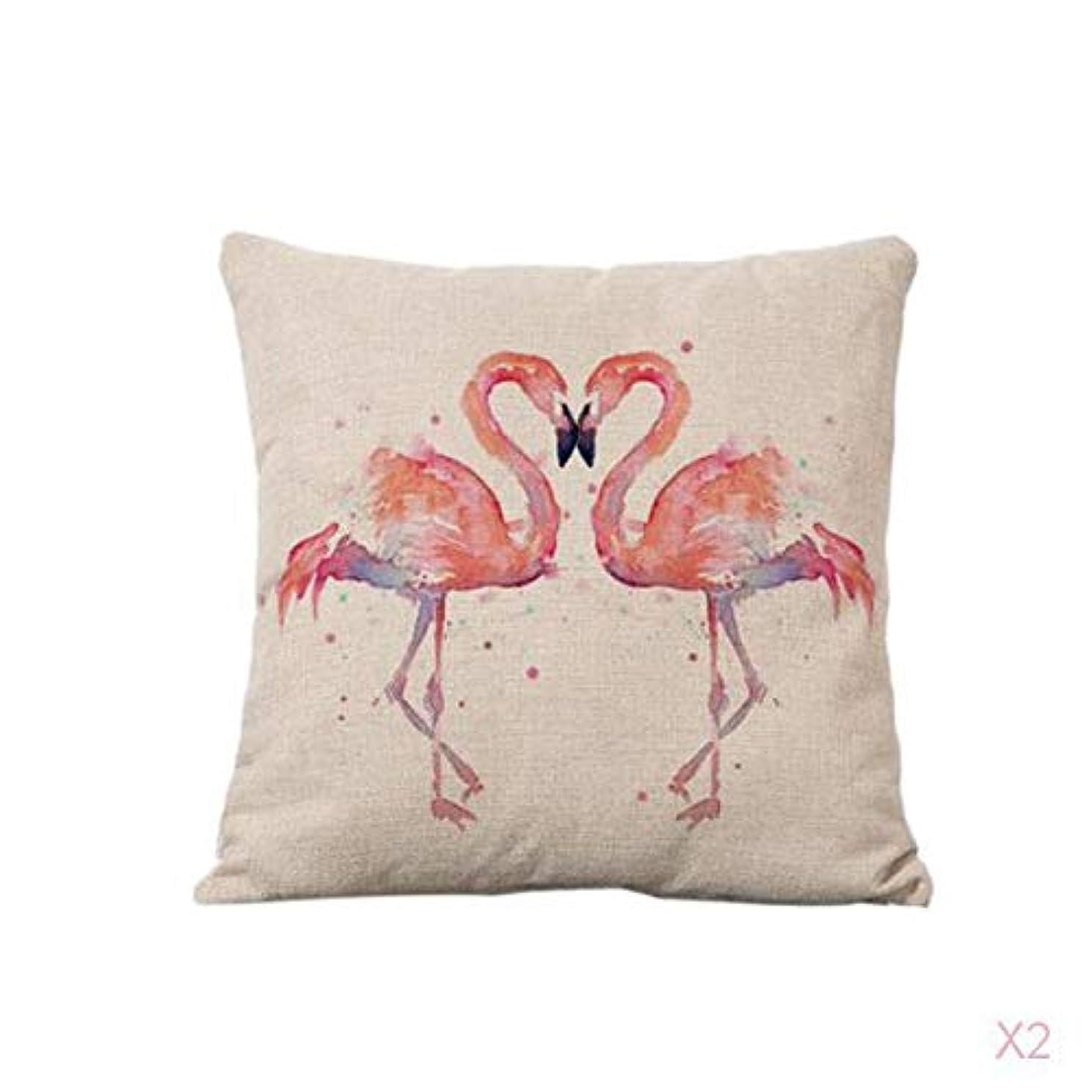 FLAMEER コットンリネンスロー枕カバークッションカバーソファ家の装飾フラミンゴ#1