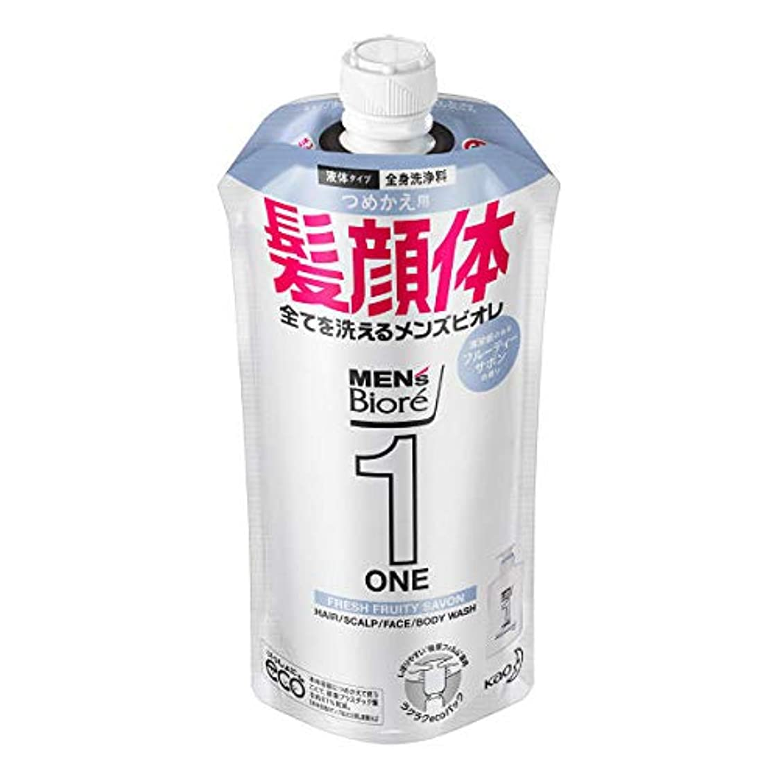 全体にアイドル晩餐メンズビオレONE オールインワン全身洗浄料 清潔感のあるフルーティーサボンの香り つめかえ用 340mL