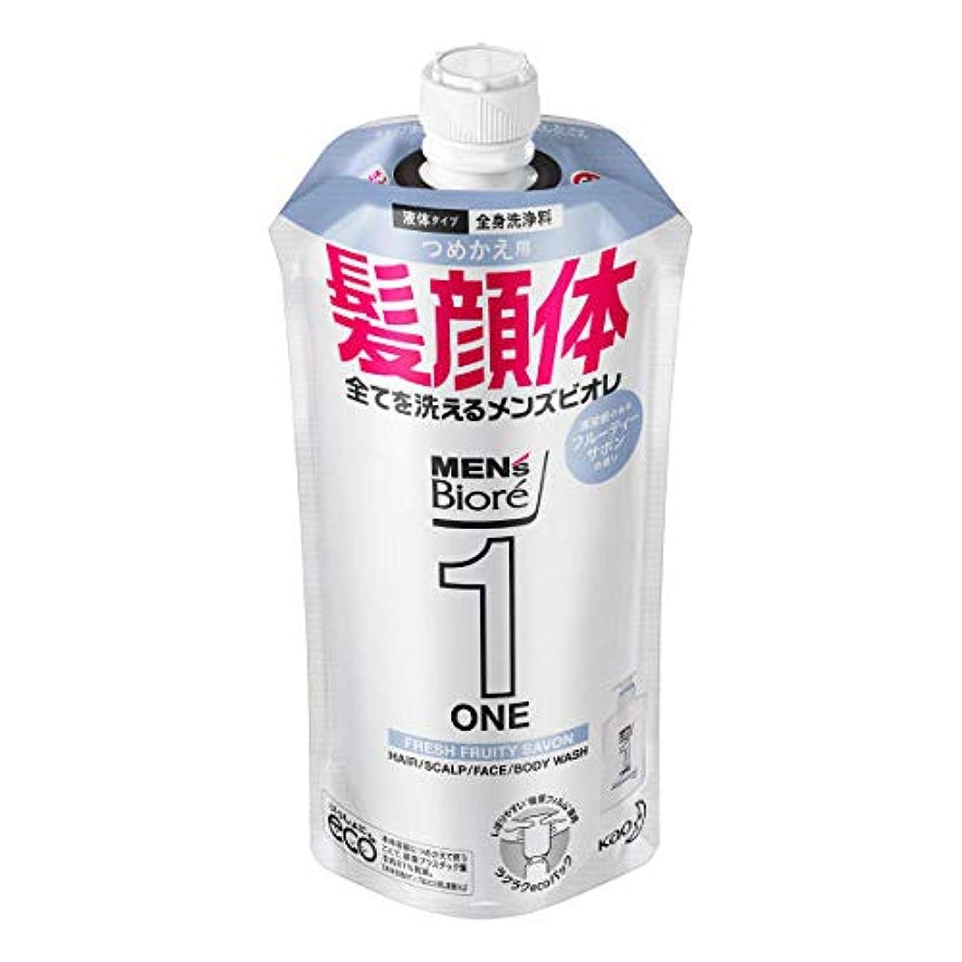 メンズビオレONE オールインワン全身洗浄料 清潔感のあるフルーティーサボンの香り つめかえ用 340mL