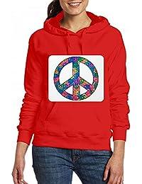 Tye Dye Symbolの中のピースシンボル Women Pocket Hoodie Sweater レディーズ トップス パーカー アクティブウェア
