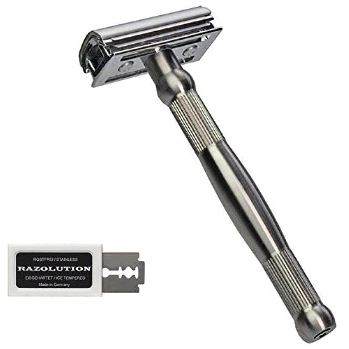 排他的木不十分なRAZOLUTION 4Edge Safety razor, stainless steel handle