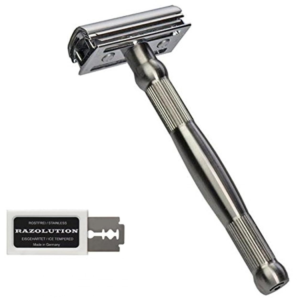 緑緊急石RAZOLUTION 4Edge Safety razor, stainless steel handle