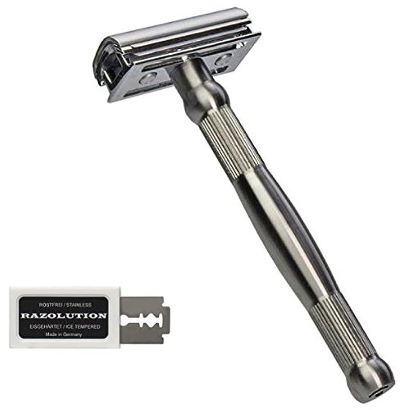 硬さ感動する差し迫ったRAZOLUTION 4Edge Safety razor, stainless steel handle