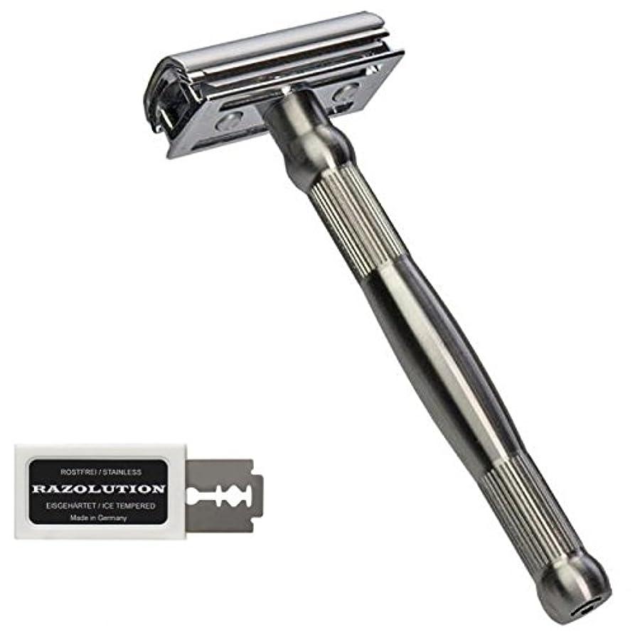 支援するグリーンバック出撃者RAZOLUTION 4Edge Safety razor, stainless steel handle