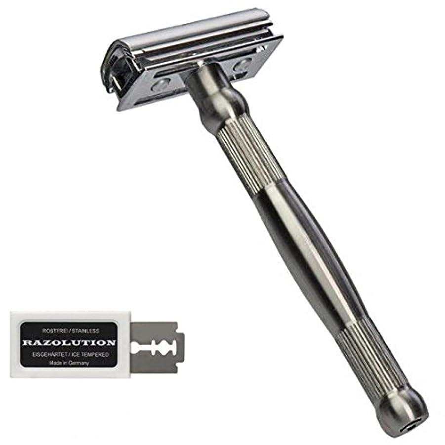 財団レジデンスできればRAZOLUTION 4Edge Safety razor, stainless steel handle