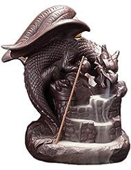 ドラゴン逆流還流香バーナー家の装飾セラミックスティックホルダー層上昇コーン香炉茶屋装飾品香ホルダー (Color : Brown, サイズ : 5.11*6.29 inches)