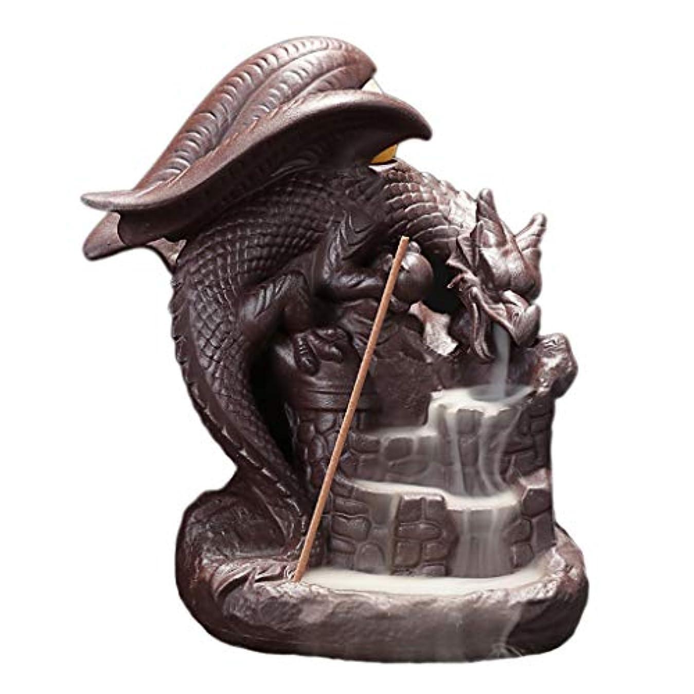 ハドル灰キャリッジセラミック逆流香炉ドラゴン磁器香スティックコーンバーナーホルダーホームフレグランス工芸品装飾香ホルダー (Color : Brown, サイズ : 5.11*6.29 inches)