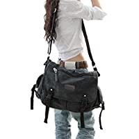 """Vintage Canvas Messenger Bag Large Book Laptop Shoulder School Bag Women Men New(Black,Large-15.6"""")"""