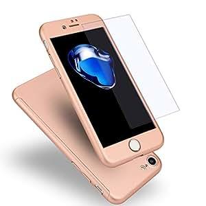 iPhone7 ケース 全面保護 強化ガラスフィルム 360度フルカバー 衝撃防止 アイフォン7 ケース おしゃれ 高級感 薄型 携帯カバー(ピンク)