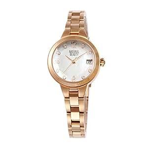 [ナチュラルビューティ] シンプル おしゃれ ソーラー 腕時計 充電 NB104PWHM レディース ホワイト ピンクゴールド