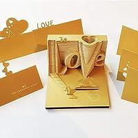 EVOIO LOVE 3Dメモ帳 Art Building Block 紙建築シーン模型組立 付箋紙 DIYの紙の芸術の便利さステッカー紙カードクラフト 3D立体付箋Memo (金色)