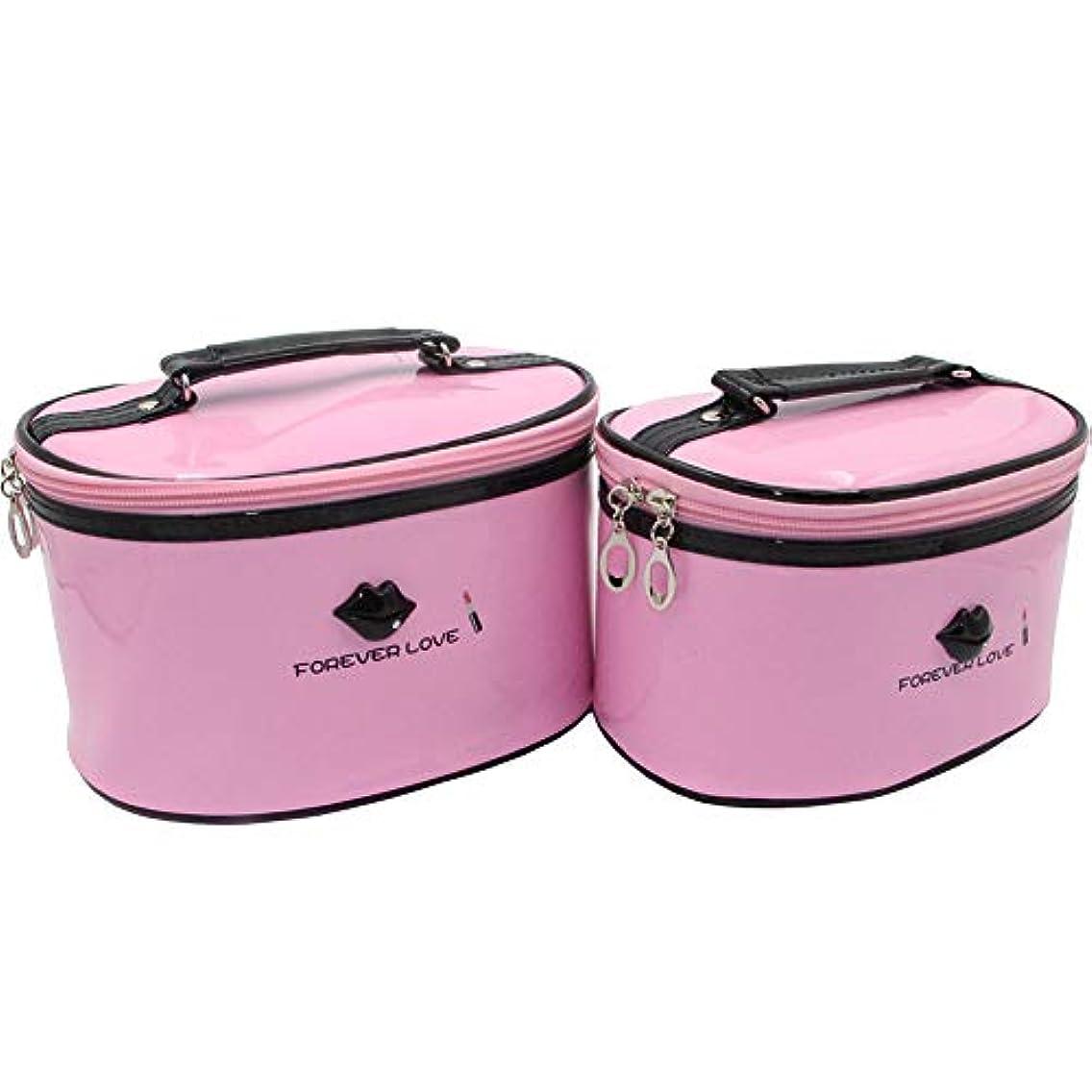 落ち着かないコアアミューズメントHOYOFO 化粧ポーチ メイクボックス 大容量 おしゃれ バニティ エナメル 化粧品 コスメ収納 ブラシ入れ 防水 旅行 2点セット ピンク