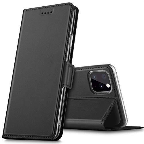 iPhone 11 pro ケース KuGi iphone11 pro ケース 手帳型 スタンド機能 QI充電対応 カード入れ 2枚 ストラップ穴付き マグネット式 薄型 耐衝撃 高級 PUレザー 折り畳み式 iPhone 5.8 2019 ケース 全面保護カバー カード収納 ブラック
