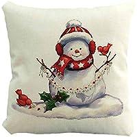 クリスマスピローケースかわいい雪だるらプリンティング染色ソファベッドホームインテリアピローケースXmas 45x45cmスクエアフラックスクッションカバー,45x45cm,D