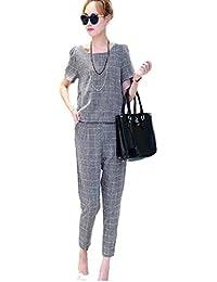 Jeanne Queen レディース グレー チェック 柄 半袖 パンツスーツ セットアップ ツーピース
