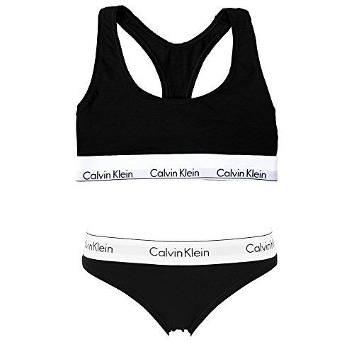 (カルバンクライン) Calvin Klein レディース ブラ&ショーツ 上下セット CK modern cotton ブラ海外L×パンツ海外L ブラックショーツSET [並行輸入品]