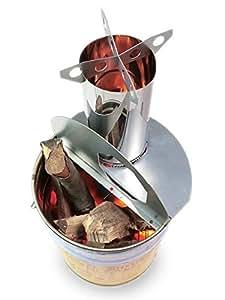 ロケットストーブ 『焚火缶』 キット + 30cm煙突2本(φ120mm)  直火のバーベキューコンロ 焚火台   中古のペール缶に入れてお届け!