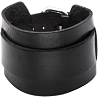 Nicever Gothic Punk Genuine Leather Wristband Cuff Bangle Bracelet for Mens Adjustable 7.2-9 Inches