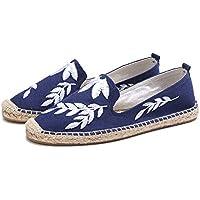 AUCDK Women Linen Slacker Shoes Low Top Embroidery Beach Sandal Ladies Fisherman Shoes Closed Toe Casual Shoes
