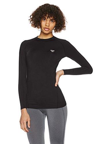 (エーディーワン)A.D.ONE(エーディーワン) レディース 発熱保温 ヒートコンプレッションシャツ ストレッチインナーシャツ アンダーシャツ 女性用ヒートインナー クルーネック ADCL-18  ブラック×ブラック M