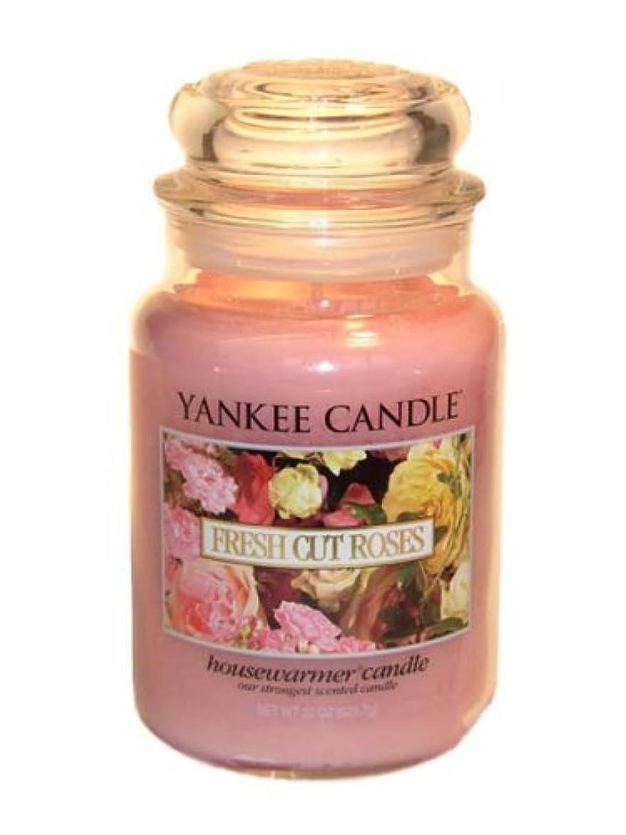 スクリーチアルミニウムアナウンサーYankee Candle Large 22-Ounce Jar Candle, Fresh Cut Roses [並行輸入品]