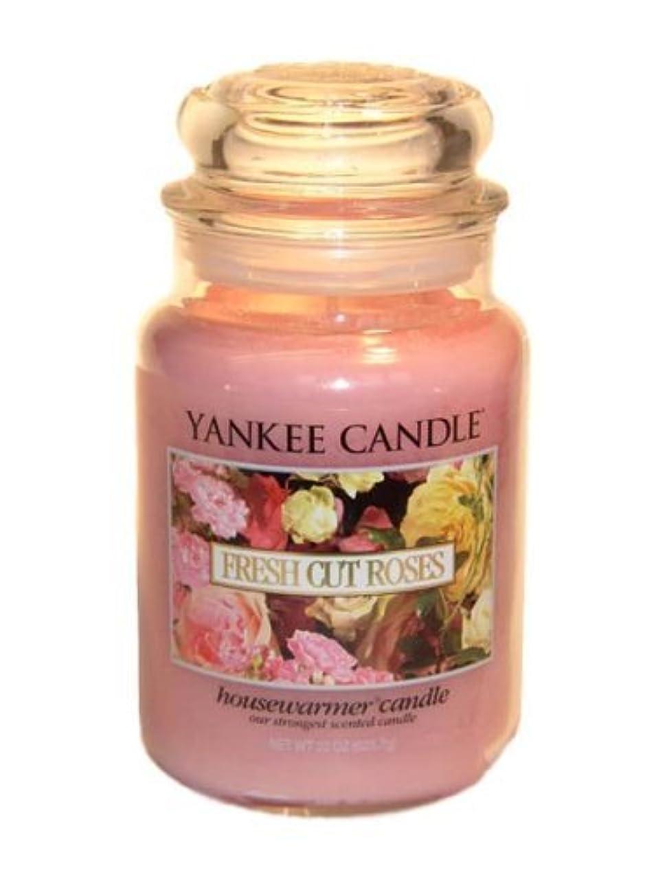 黒くする肉腫罰Yankee Candle Large 22-Ounce Jar Candle, Fresh Cut Roses [並行輸入品]