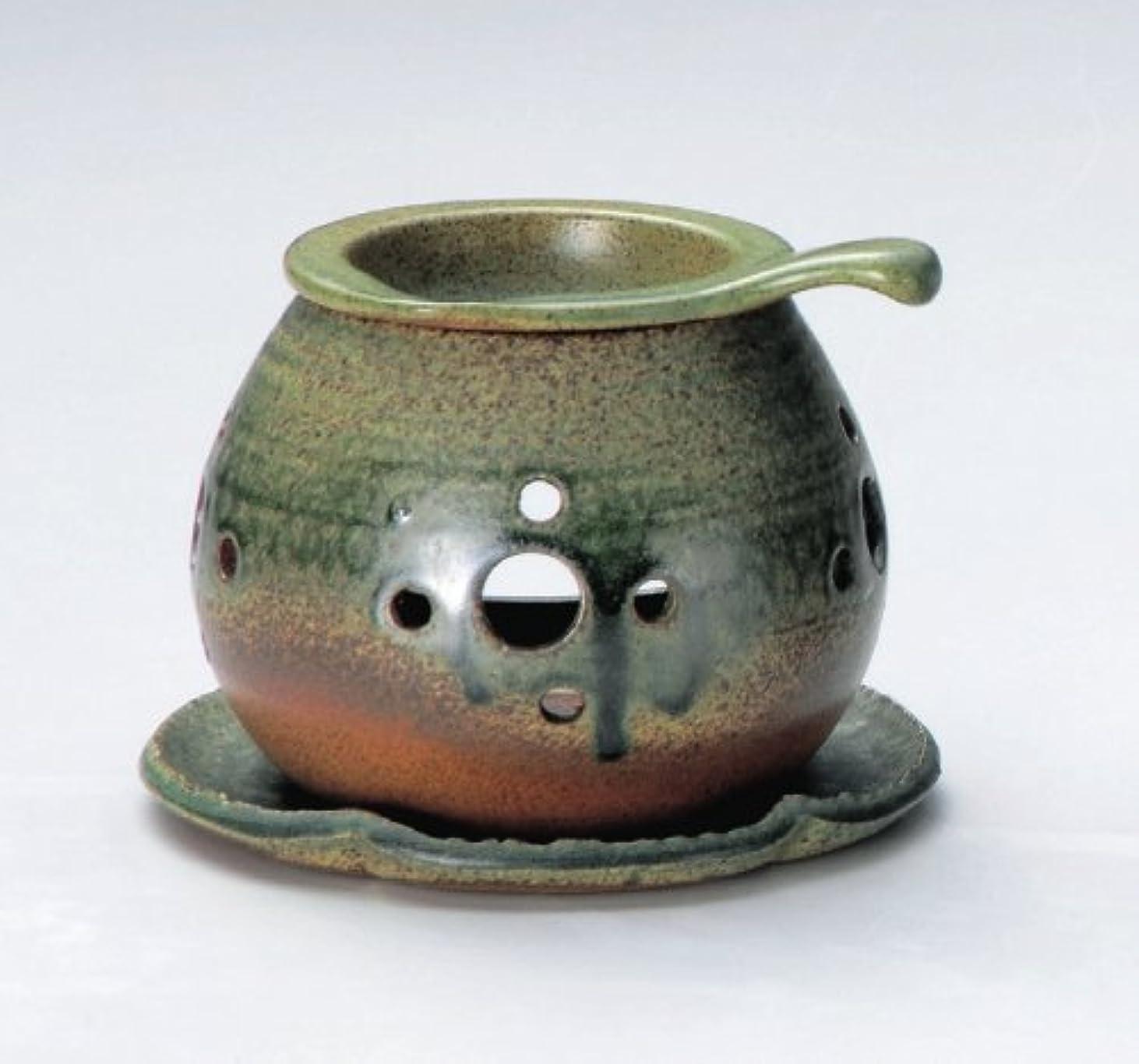 未払いチップ焦がす常滑焼 3-824 行宮灰釉丸形茶香炉 行宮φ13.5×H10.5㎝