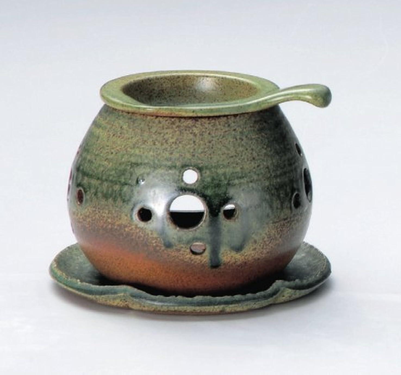 狭い提唱する継続中常滑焼 3-824 行宮灰釉丸形茶香炉 行宮φ13.5×H10.5㎝