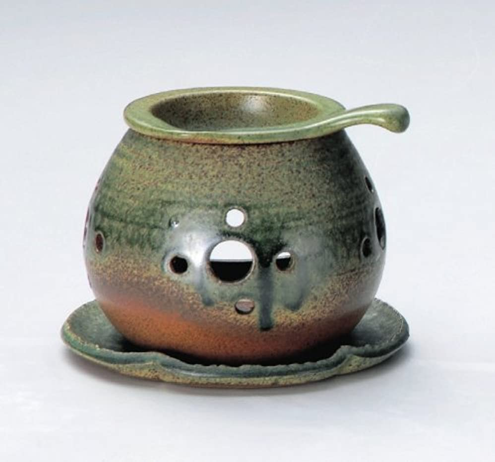 【常滑焼】行宮 灰釉丸形茶香炉 灰釉丸形 φ13.5×H10.5㎝ 3-824