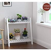 木の植物の立場の屋内、2層植物の花の棚の庭の家の花のバルコニーの棚の梯子の表示自由で永続的な花の棚(60 * 27 * 65cm)