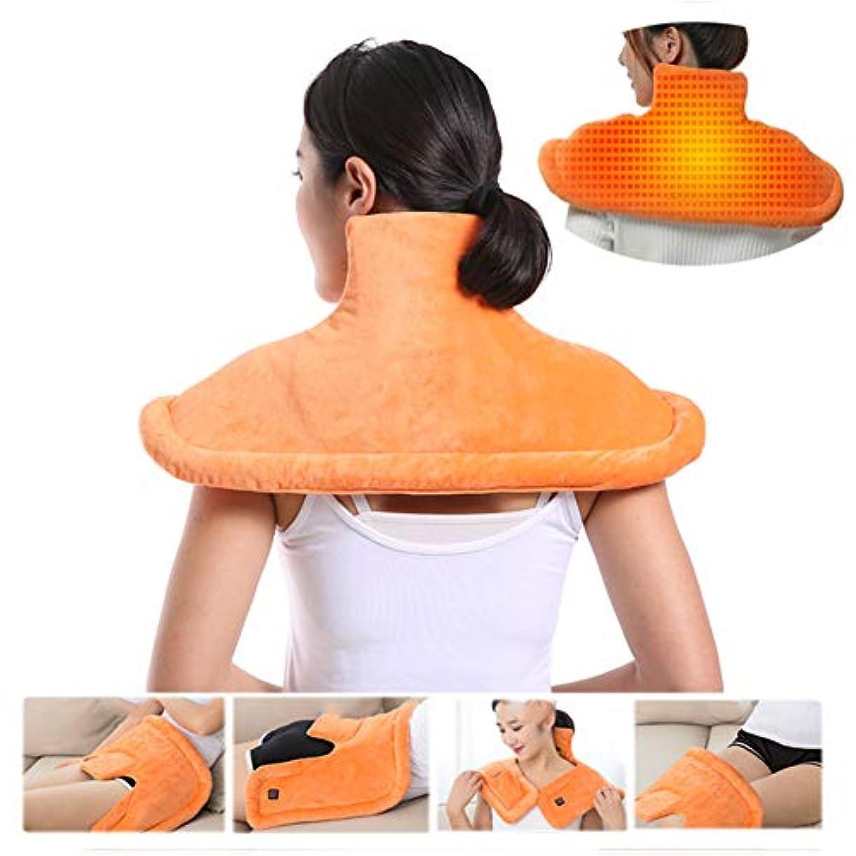フィードオンウィスキー流産首の肩の背部暖房パッド、マッサージのヒートラップの熱くするショールの減圧のための調節可能な強度フルボディマッサージ首の肩暖房湿った熱療法のパッド