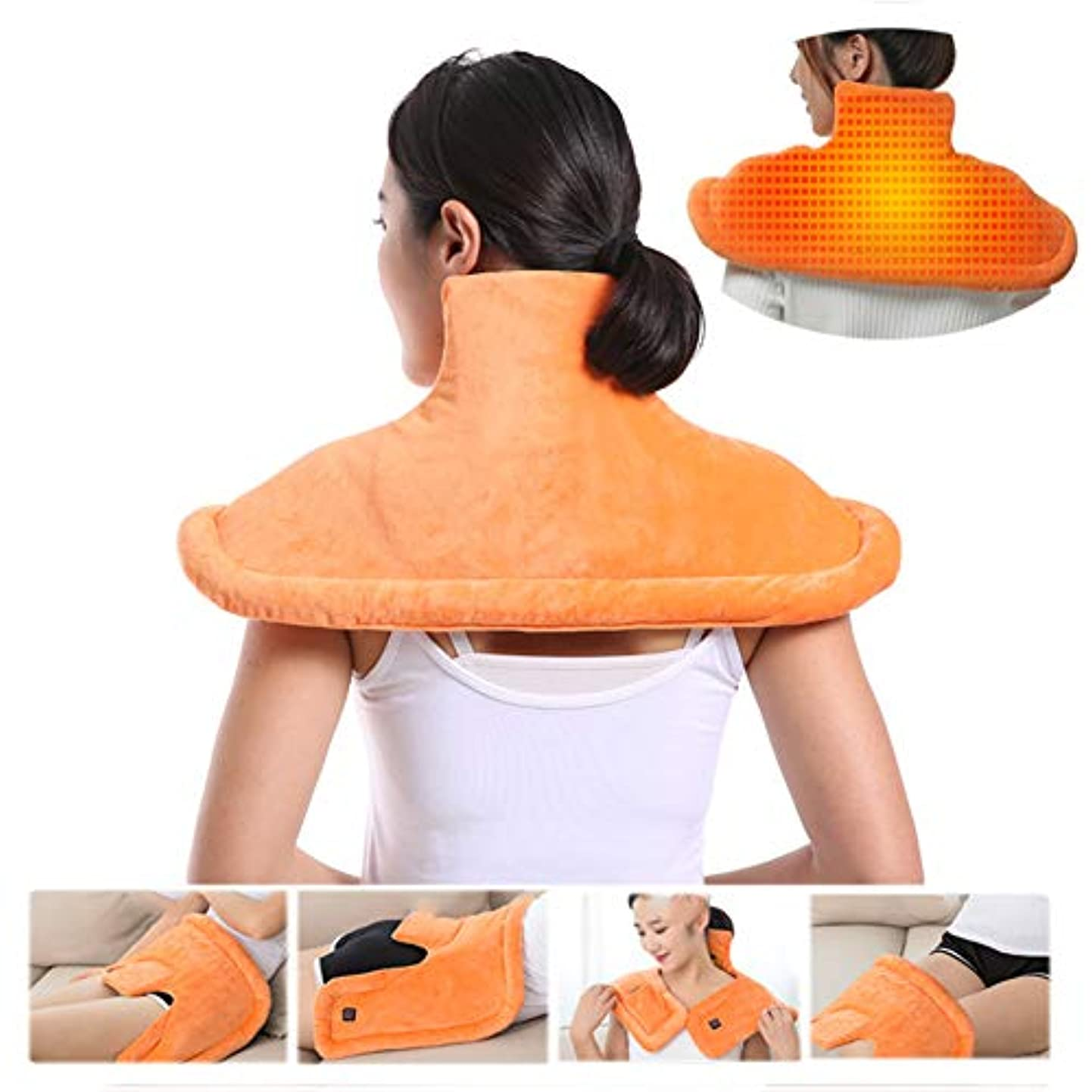 知覚できる光フィットネス首の肩の背部暖房パッド、マッサージのヒートラップの熱くするショールの減圧のための調節可能な強度フルボディマッサージ首の肩暖房湿った熱療法のパッド