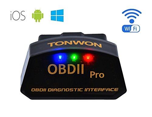 TONWON自動車故障診断機OBD II wifi 超小型配線なし 多車種に適して多機能、簡単な自動車制御情報をインス...
