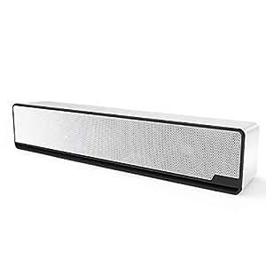 AKUSA PC スピーカー サウンドバー ステレオ usb パソコン用 小型 高音質 重低音 大音量 タブレット ゲーム機 ノイズキャンセリング 映画鑑賞 おしやれ 高性能(ホワイト)