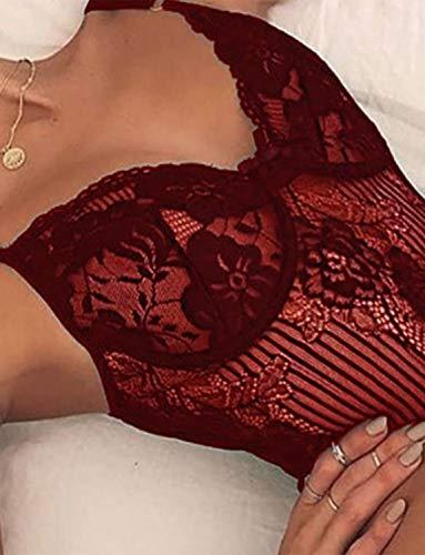 LNL International Women Sexy Lace Bodysuit One Piece Naughty Lingerie Teddy Underwear
