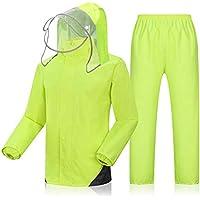 BYWSD Rain Jacket and Rain PantsSet,Adults Rainproof Windproof Hooded Rainwear Outdoor Work Raincoat Suit (Color : Fluorescent Yellow, Size : XL)
