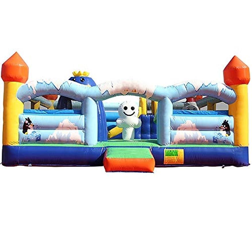 招待自然公園セットアップ弾力がある城 SlidePlaygroundでインフレータブルバウンスハウスは、裏庭のために設定し、耐久性は、子供のための余分な厚い材料のギフトでカットソー 子供の遊び場 (色 : 01, サイズ : 600X500X270CM)
