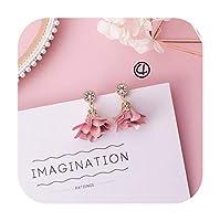 トレンディな日本の韓国の女の子かわいいイヤリングシンプルなピンクの甘い生地の花のイヤリング,Style-4