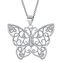 Large Filigree Cubic Zirconia CZ Garden Butterfly Pendant Necklace for Women for Teen 925 Sterling Silver