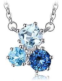 JewelryPalace 1.7ct 宝石 11月 誕生石 3石 天然石 スイスブルー ロンドンブルー スカイブルー トパーズ ペンダント ネックレス スターリング シルバー925 チェーン 45cm
