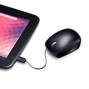 サンワダイレクト microUSBマウス Android搭載スマホ・タブレットで使える! Windows・Mac対応 USB変換アダプタ付き ケーブル巻取り ブラック 400-MA063BK
