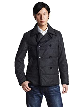 Wool Flannel Quilted Pea Coat 11-19-0735-803: Charcoal