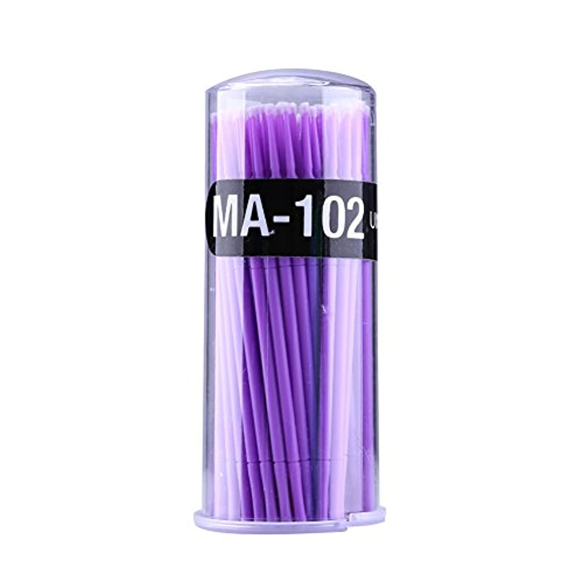 留まるダースハリケーンマイクロブラシ - Delaman つ毛ブラシ、まつげ、使い捨て、睫用、先端曲げ、アプリケータエクステンション メイクブラシ、100個入り (色 : Purple)