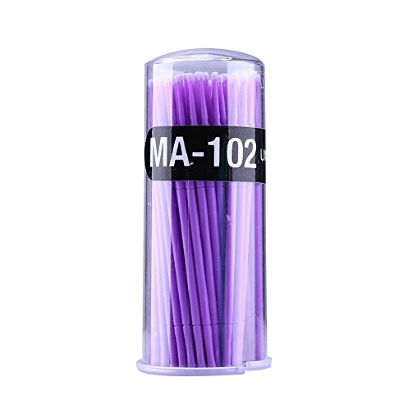 花輪偽装する費用マイクロブラシ - Delaman つ毛ブラシ、まつげ、使い捨て、睫用、先端曲げ、アプリケータエクステンション メイクブラシ、100個入り (色 : Purple)