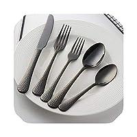 かわいいトラベルカトラリーセット食器ステンレスフォークスプーンナイフセットTalheres日本のカトラリーレストランパープル銀北欧ヴィンテージ食器、ブラック