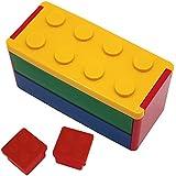 プライムナカムラ ロック式ブロック2段弁当箱 660ml (YE)とオリジナルブロックミニケース2個 (RD) セット 入園 幼稚園 保育園 小学生 レンジ対応