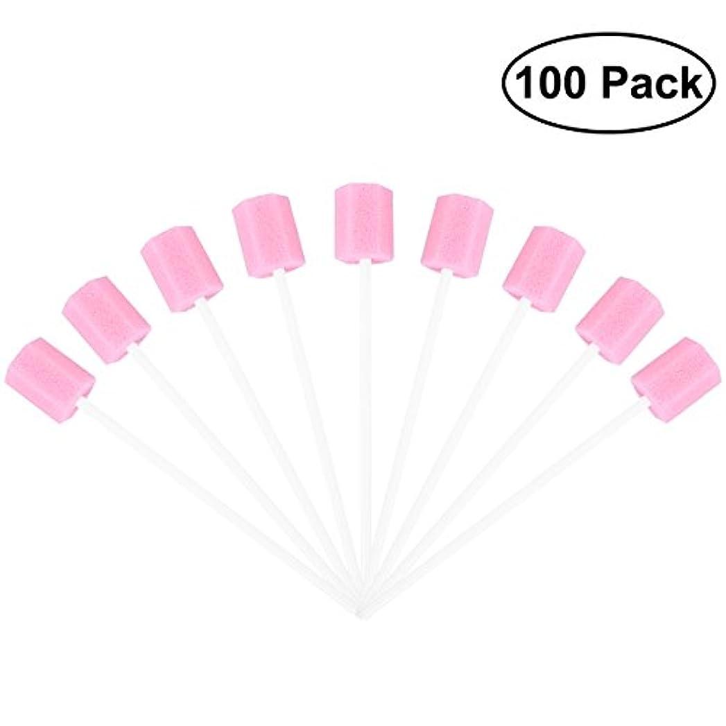 ボリュームポンプ傷つけるROSENICE 使い捨てオーラルケアスポンジスワブ歯口洗浄スワブ100個(ピンク)