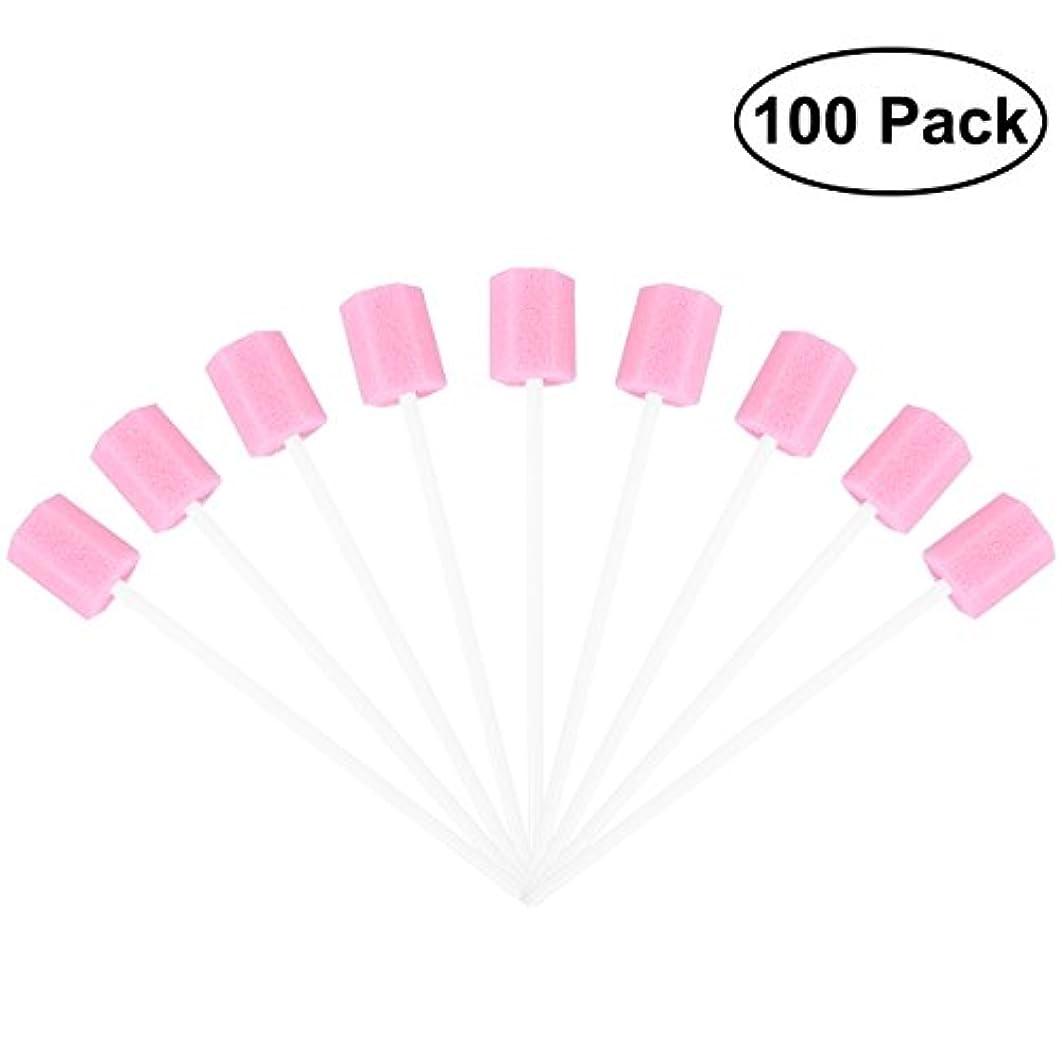 眠り届けるパラシュートROSENICE 使い捨てオーラルケアスポンジスワブ歯口洗浄スワブ100個(ピンク)