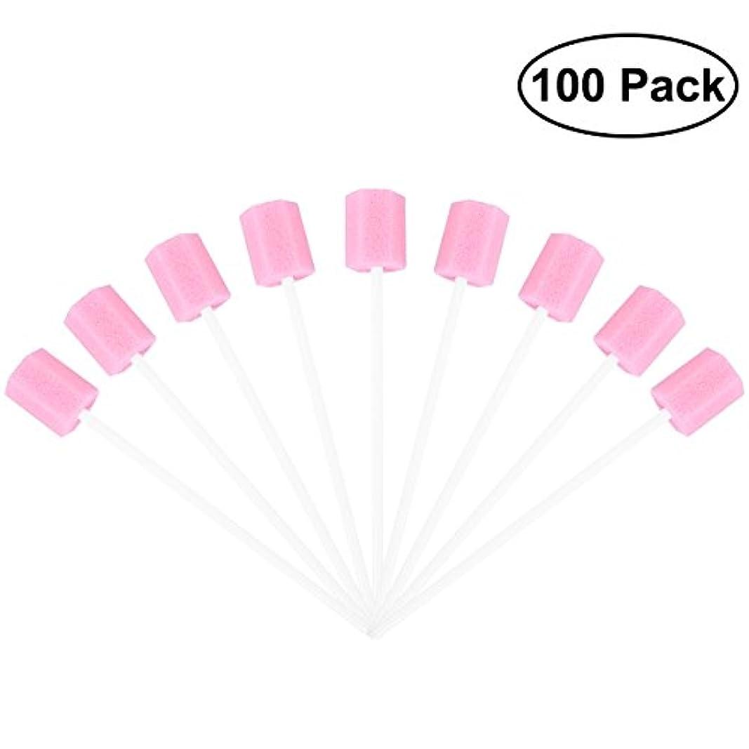ひねり過半数故意にROSENICE 使い捨てオーラルケアスポンジスワブ歯口洗浄スワブ100個(ピンク)
