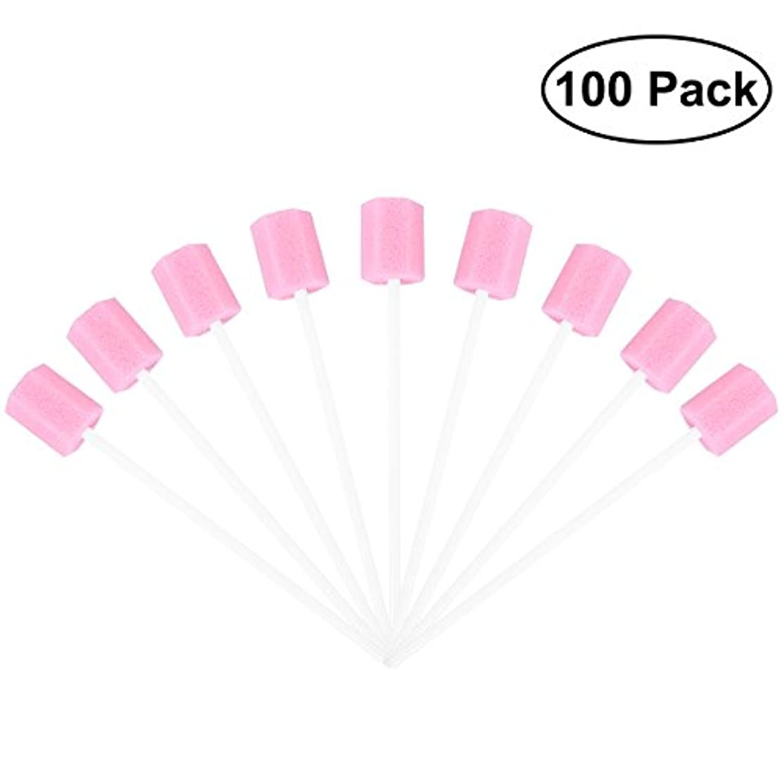 肺本会議不要ROSENICE 使い捨てオーラルケアスポンジスワブ歯口洗浄スワブ100個(ピンク)